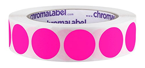 ChromaLabel 1 inch Removable Color-Code Dot Labels | 1,000/Roll (Fluorescent Pink)