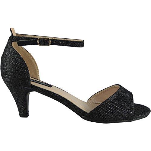 Loud Look Womens Glitter Mid Heel Peeptoe Shoes Party Bridesmaid Wedding Bride Ladies Size 3-8 Black h6Na1AuoTX