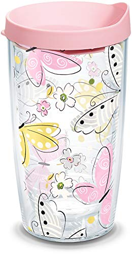 Tervis 1049063 Hallmark - Butterfly Insulated Tumbler with Wrap and Pink Lid, 16oz, Clear