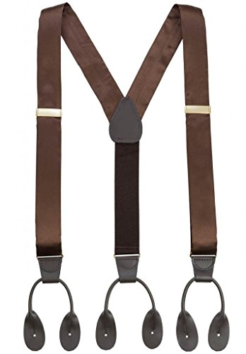 (Hold'Em 100% Silk Suspenders Men Y-Back Fancy Solid Button End-Brown)