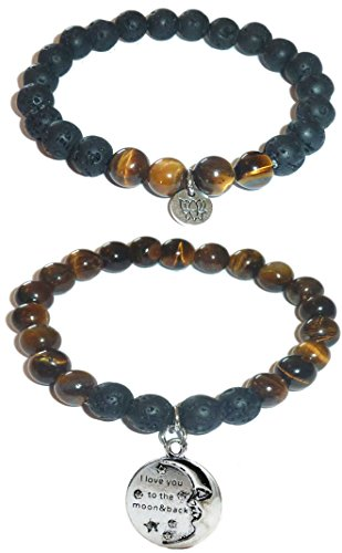 Hidden Hollow Beads Charm Tigers Eye and Black Lava Natural Stone Women's Yoga Beaded Stretch Bracelet Set. COMES IN A GIFT BOX! (I love you to the Moon and back)