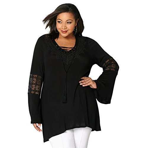 Avenue Women's Crochet Lace-Up Tunic, 22/24 Black