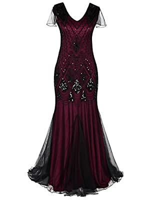 PrettyGuide Women Evening Dress 1920s Flapper Cocktail Mermaid Plus Size Formal Gown