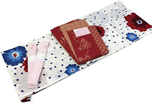 Womens Cotton Yukata 4item set Japanese Summer Kimono White Polka dot Floral by Kimono Japan