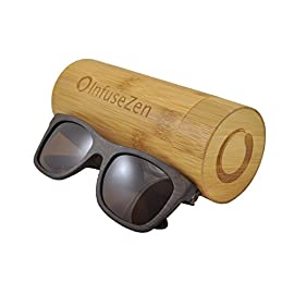 InfuseZen Bamboo Wooden Sunglasses, Wood Shades, Unisex Sun Glasses for Men or Women 8 HANDMADE WOOD FRAME SUNGLASSES - Wood and metal components are all water proof - perfect for swimming, sports or everyday wear. Take them to the pool or beach; they float in water! LENSES - Fashionable lenses are TAC polarized with UV400 protection. QUALITY - Lightweight wood frame with style! Flexible stainless steel spring hinges make these glasses easy to put on and remove. Round wooden sunglasses case included.