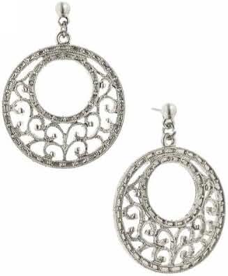 1928 Jewelry Silver-Tone Filigree Crescent Hoop Earrings