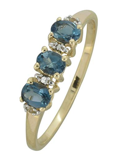 (YoTreasure 0.60 Ct. London Blue Topaz Solid 10K Yellow Gold Eternity Band Ring)