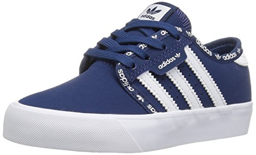 adidas Originals Boys' Seeley J Sneaker, Mystery Blue Mystery Blue/White, 5.5 M US Big Kid