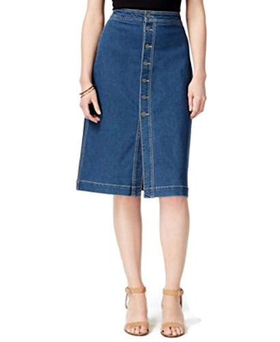 Style & Co. Womens Button-Front Mid-Rise A-Line Skirt Denim 12 (Co Button Front)