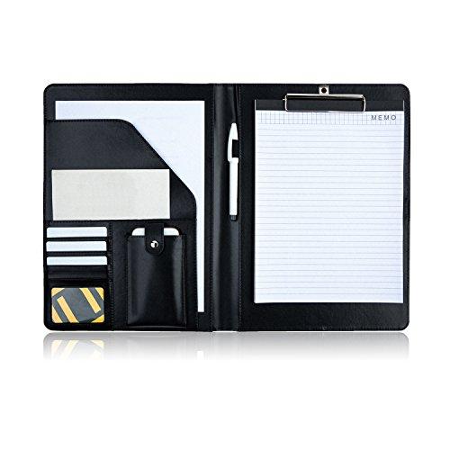PREMIUMAX Leather Business Padfolio Portfolio Presentation Folder Interview Resume Document Organizer with Bonus Memo Magnetic Closure (Black)