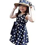 Child Girls Sweet Princess Sleeveless Dresses Party Polka Dot Chiffon Sundress