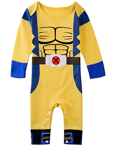 [A&J Design Baby Boys' Wolverine Long Sleeve Costume Romper (6-9 Months)] (Superhero Costumes Pictures)