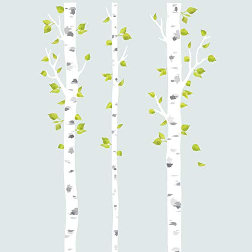 (DECOWALL DLT-1714 White Birch Trees Fabric Wall Decals Wall Stickers Removable Reusable Peel and Stick Non Toxic for Kids Nursery Bedroom Living Room)