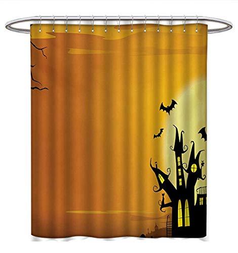 Halloween Shower Curtains Waterproof Gothic Haunted House Bats Western Spooky Night Scene with Pumpkin Drawing Art Bathroom Set with Hooks W72 x L72 Orange Black