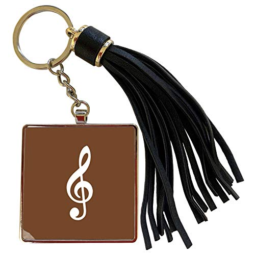 3dRose InspirationzStore Music Art Designs - Brown Treble Clef Music Notation - G clef musical note musician gift - Tassel Key Chain (tkc_232103_1) (Oasis A Great Big World Piano Sheet Music)