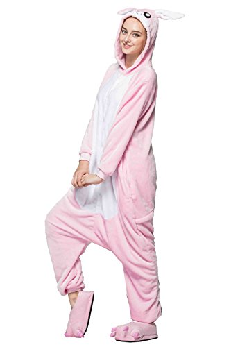 Guzesion Unisex Costume Warm Onesie Jumpsuit Adult cosplay Pajamas (XL, Bunny Pink) -