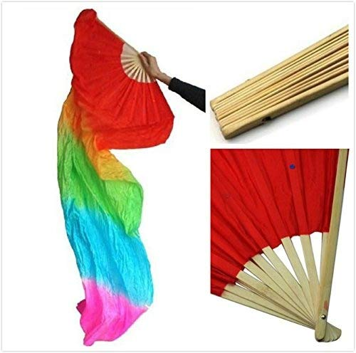 Belly Dance Fan Hand Made Long Veil Silk Bamboo Chinese Dancing Fan for Party Stage Performance Gradient Flame Rainbow Color 1 Pack 1.8m/5.9FT