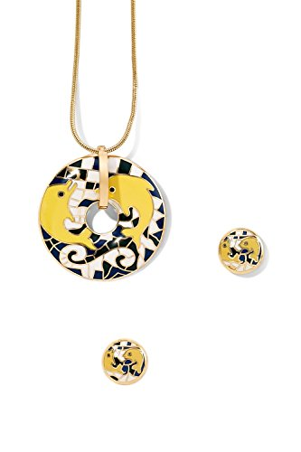 enamel-pendant-necklace-pierced-earring-set-snake-chain-circle-dolphin-charm-stud-white-black-yellow