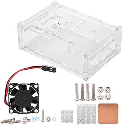 New Case Enclosure with Heatsink Cooling fan For Raspberry Pi 3B+//3//2B Black