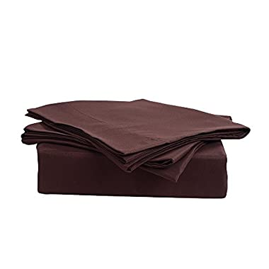 Honeymoon 1500T Solid Brushed Microfiber 4PC bed sheet set, Sheet & Pillowcase Sets - Full, Chocolate