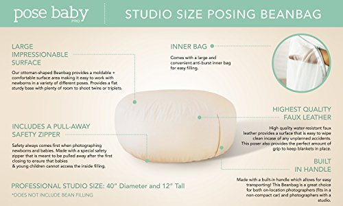 PoseBaby Pro Newborn Photography Bean Bag Studio Size | Bean Filling Not Included | Professional Ottoman Poser | Baby Photo Prop & Pose Pillow - Newborn Photography Props