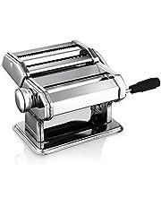 Máquina para hacer pasta de acero inoxidable, manual, ajustable, máquina para hacer pasta con cortador para espaguetis frescos, tagliatelle Fettuccine y lasaña, etc., 2 en 1, máquina para pasta, plata