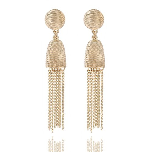 - Luxurious Long Hanging Metal Chain Fringe Dangle Tassel Drop Earrings by Pashal (Bright Gold)