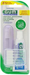 GUM 4 For The Road Travel Pack; travel brush;floss;toothpaste;soft-picks(Colors may vary)