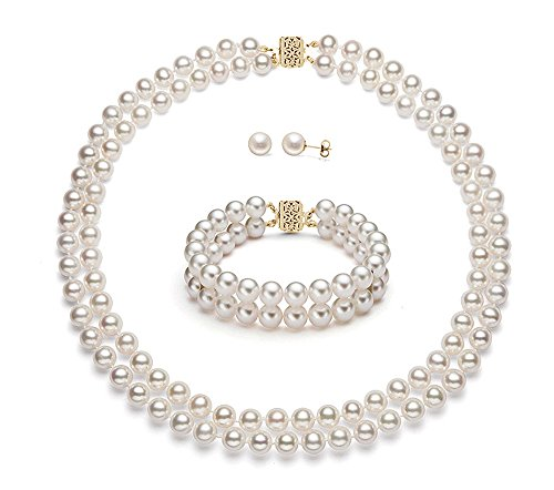14k Yellow Gold Double Strand White Freshwater Cultured Pearl Set AAA Quality (6.5-7mm) by Premium Pearl, Inc