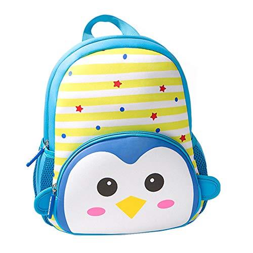 Toddler Backpack, 3D Cute Cartoon Neoprene Animal Waterproof Preschool Backpack for Boys for 1-6 Years Girls, Penguin