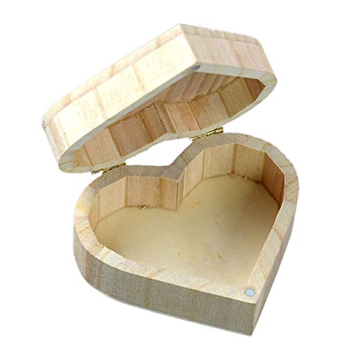 - 2TRIDENTS Wooden Heart-Shapes Storage Box - Organizers for Collecting Rings, Earrings and Other Jewelries