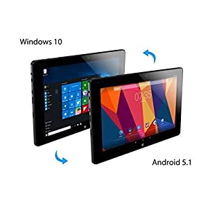 ALLDOCUBE iwork10 Pro 2-in-1 Tablet PC with Keyboard, 10.1 inch Laptop, 1920x1200 IPS Screen, Windows 10 + Android 5.1, Intel Atom X5 Z8350 Quad Core, 4GB RAM, 64GB ROM, USB Type-C, HDMI Output, Black