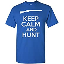 Keep Calm And Hunt Novelty Statement Unisex Adult T-Shirt Tee (XXX Large, Royal Blue)