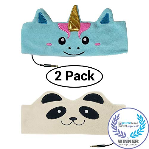 CozyPhones Kids Headphones Twin-Pack – (2PCS) Unicorn and Panda Combo - Childrens Volume Limited Earphones for Home and Travel – Value Pack
