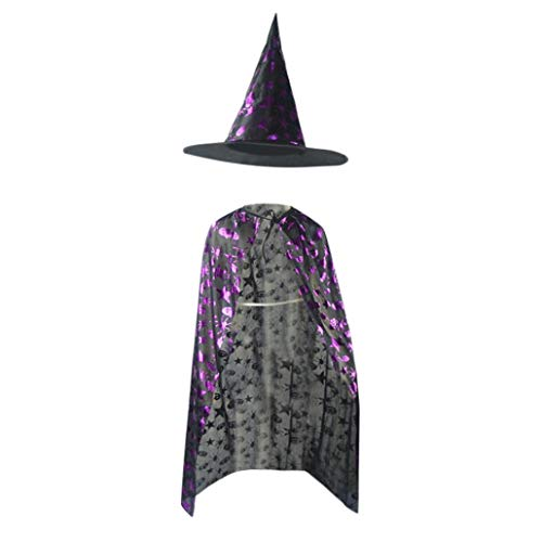 Yezijin Kids Adult Children Halloween Baby Costume Wizard Witch Cloak Cape Robe+Hat Set (80CM/32) ()