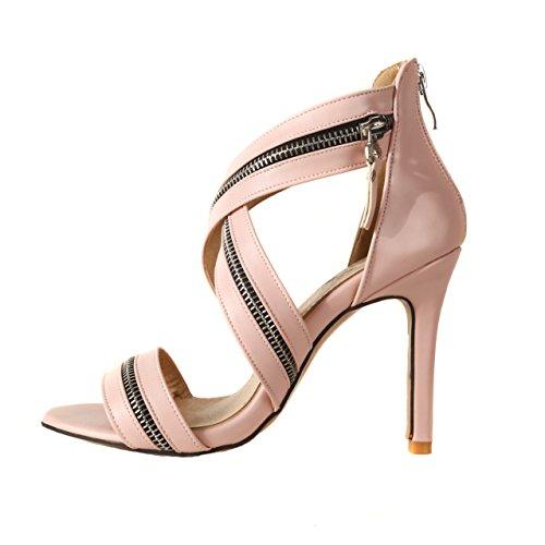Rot Rosa Hohle Straps High Stiletto 42 Damen 46 Große Schuhe Peep Spitz Color Sandalen Sandalen Zipper 33 Schuhe Damen Heels Ankle Größe Größe Sandalen xw88gYnRvt