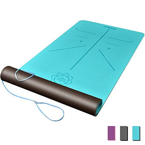 DAWAY Eco Friendly TPE Yoga Mat - Y8 Wide Thick Workout Exercise Mat, Non Slip Grip Pilates Mats, Body Alignment System, Tear Resistant, with Carrying Strap, 72