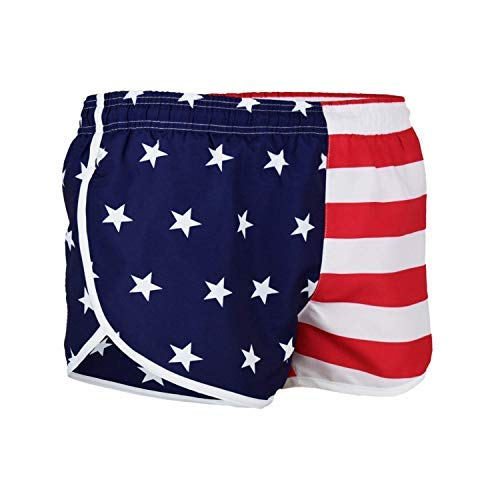 VBRANDED Men's American Flag Side Split Running Shorts Large Red/White/Blue