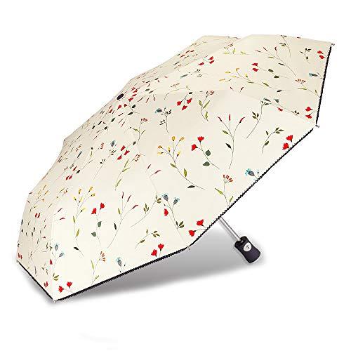 Cuby UV Sun Umbrella Compact Folding Travel Umbrella Auto Open and Close for Windproof, Rainproof & 99% UV Protection Parasol with Black Anti-UV Coating(Malus spectabilis)
