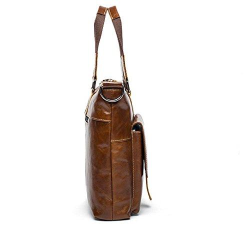 Borsa D'affari In università 2 Messenger Bag Uomo 39x9x30cm 2 Spalla A Tipo Tracolla Pelle Vintage Sucastle viaggio qB7wEF