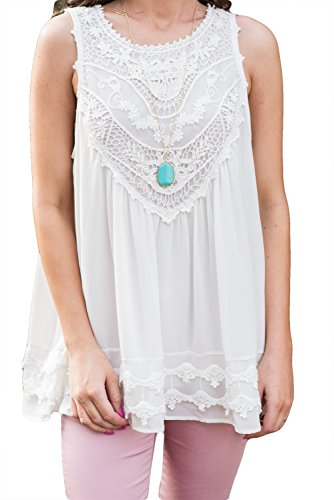 POGTMM Women's Summer Casual Sleeveless Lace Tops Lace Trim Tunic Tops Chiffon Blouses (M(8-10), ()