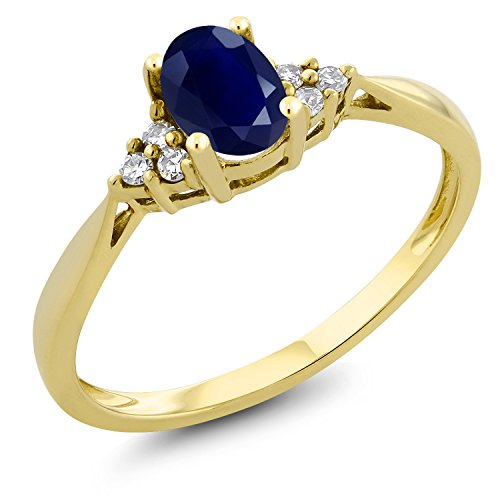Gem Stone King 14K Yellow Gold Blue Sapphire and Diamond Women's Ring 0.55 cttw Oval Available in size 5, 6, 7, 8, 9 ()