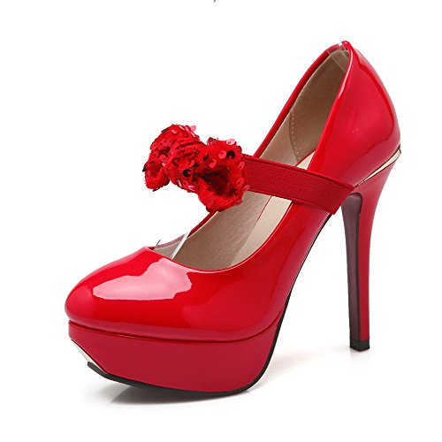 VogueZone009 Women's PU Round Closed Toe Spikes Stilettos Solid Pumps-Shoes Red M3UBiQX4d