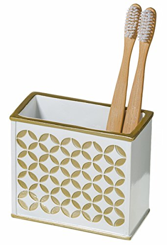 "Diamond Lattice Bathroom Toothbrush Holder (4.5""x 2.2""x 4"") - Family Brush Toothpaste Cup- Unique Partitioned Design- Holds Multiple Standard/ Electric Toothbrushes- For Elegant Bath Shower Décor"