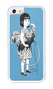 Apple Iphone 5C Case,WENJORS Cool Rooster Girl Soft Case Protective Shell Cell Phone Cover For Apple Iphone 5C - TPU White