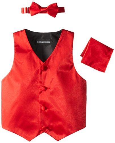 American Exchange Little Boys's' Satin 4 Piece Vest Set, Red, 7