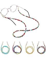 Cadena para Gafas, Cadena para Lentes, Juego de 4 Soportes de Cadena para Gafas Alrededor del Cuello para Mujer, Cadena de Gafas y Cordón Antipérdida