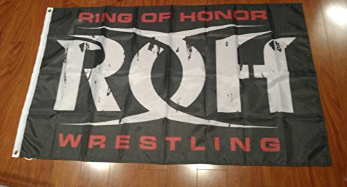 ROH Ring of Honor Wrestling 3'x5' black flag banner - WCW, WWF, WWE -