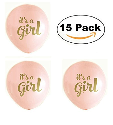 The Funny Flamingo 12'' Latex Balloon (pack of 15) Gold Print It's A GIRL for Baby Shower Party 12' Metallic Latex Balloons