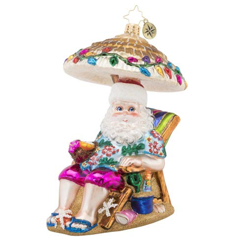 Christopher Radko Hand-Crafted European Glass Christmas Decorative Figural Ornament, Relaxing by The Beach from Christopher Radko